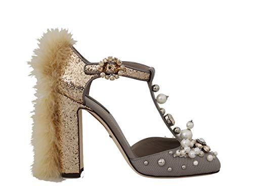 Dolce & Gabbana - Damen Schuhe - Pumps Gold Lizard Leather Crystal Fur Size: 39