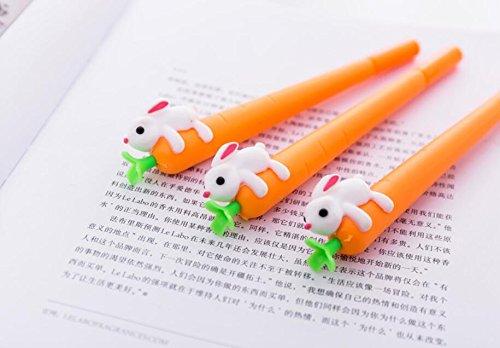 ZoraQ 3 piezas papelería suministros de oficina 0,5 mm bolígrafo de linda zanahoria con bolígrafos de gel de conejo (naranja)