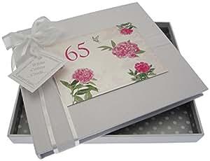 White Cotton Cards Carte d'anniversaire 65 ans'anglais «Livre d'or Rose