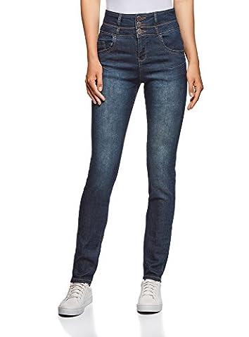 oodji Ultra Femme Jean Skinny à Taille Haute, Bleu, 27W / 30L (FR 38 / S)