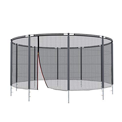 Ampel 24 Sicherheitsnetz für Klassik Trampolin Ø 430 cm mit Ring, Gartentrampolin Netz komplett mit 10 Stangen & Polster, Ersatznetz außenliegend reißfest, Gestänge Silber
