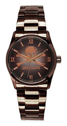 Zadig & Voltaire  - Reloj de cuarzo unisex, correa de acero inoxidable color marrón