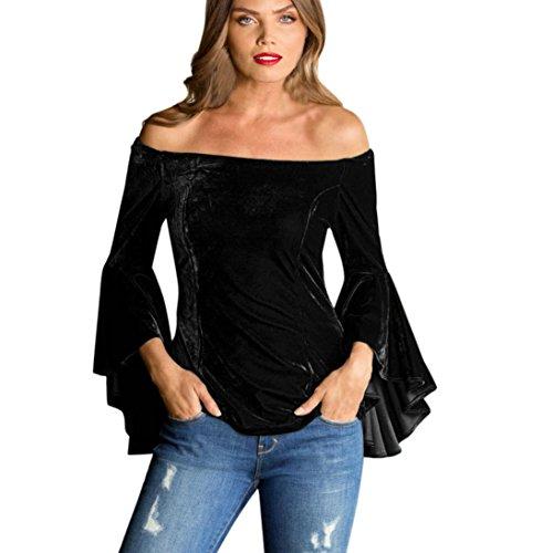 Bekleidung Longra❤️❤️ Damen Schulterfrei Bluse Samt Bluse Off-Shoulder- Oberteil Elegante Blusen Damen Vintage Shirtbluse Hemdblusen Langarmshirt Klassische Tuniken Blusen (Black, XL) (Belted Jacke Blazer)