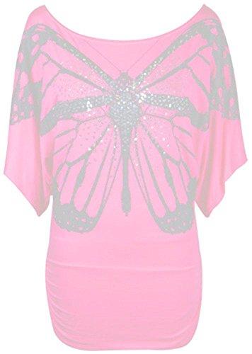 Janisramone femmes épaule celeb impression paillettes papillon bat de l'aile côté ruché haut Bébé rose