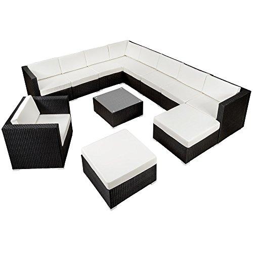 TecTake Hochwertige XXL Aluminium Poly-Rattan Lounge Sitzgruppe Set inkl. Klemmen schwarz