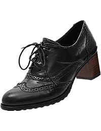 Zapato Oxford de Cuero Mujer Hueco Zapatos de Brogue Sólido Talón Grueso Zapatos de Tacón Medio Negocios Zapatos de Mujer Negro Marrón Beige…