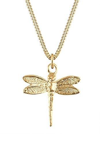 Goldhimmel Damen Halskette mit Anhänger Libelle Insekt Tier Natur 925 Sterling Silber Vergoldet 45 cm