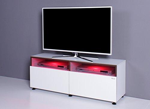 TV Bank / Lowboard NOOMO weiß / weiß Hochglanz inkl. RGB-LED Beleuchtung - 4