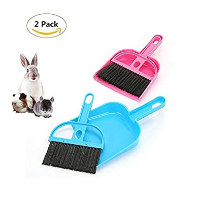 2 Pack of Pet Broom Brush and Dustpan, Floor Cleaning Kit, Pet Waste Shovels Cleaning Tools for Rabbit, Guinea Pig, Reptile, Hedgehog, Hamsters and Other Small Animals from HL