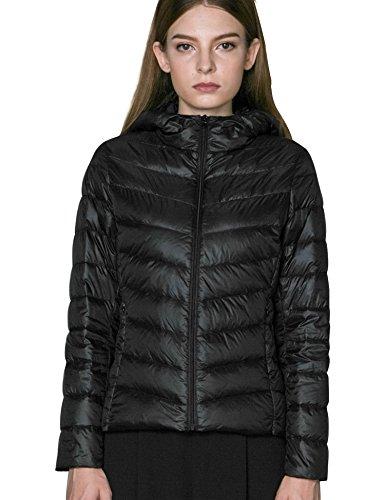 CHERRY CHICK Women's Light Hooded Puffer Down Jacket (XL, Black-LD)