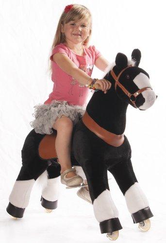Ponycycle - cheval à roulettes Noir / Blanc Moyen - Blanc Mane