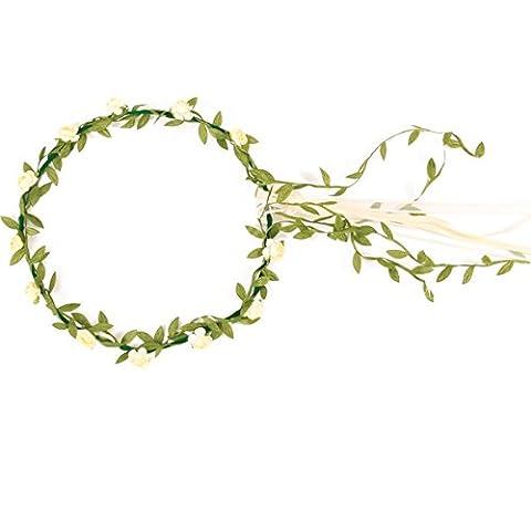 Corona de flores blanco crema niña - Única