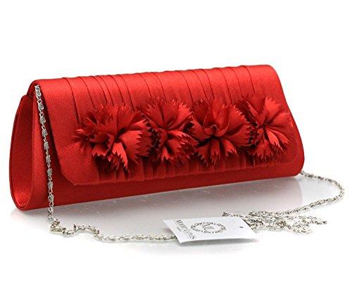 Handtasche Clutch mit edlem Muster - abnehmbarer silberfarbenen Trägerkette - Klassischer Klickverschluss oder moderner Magnetverschluss - In verschiedenen Farben: von Klassisch bis Modern 33799-Rot