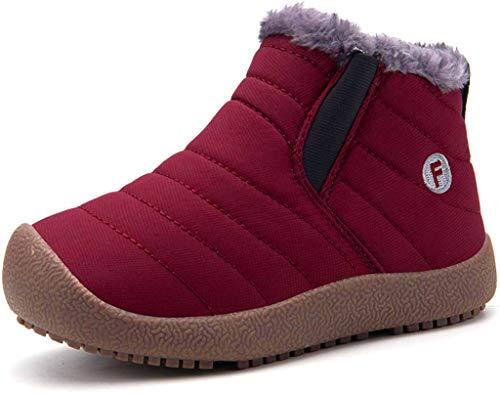 Kinder Winterschuhe Jungen Mädchen Schneestiefel Wasserdicht Warm gefütterte Schlupfstiefel Winter Stiefel Sneaker Schuhe Weinrot 29.5 EU = 30 CN