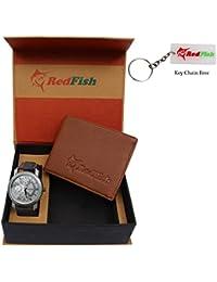 RedFish Stylist Wrist Men Watch And Tan Wallet Combo - (RDF-1004-DU)