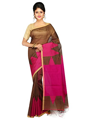 PinkLoom Women's Linen by Silk Saree with Blouse Piece from the looms...