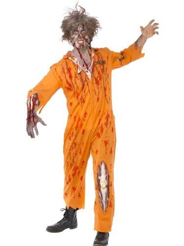 Halloween Gefangener (Zombie Gefangener Prison Gefängnisinsasse Convict Halloweenkostüm Kostüm für Halloween Horror Leiche Herrenkostüm Kostüm für Herren Untod Tod Wunden Blut mit Kniewunde Gr. 48/50 (M), 52/54 (L),)