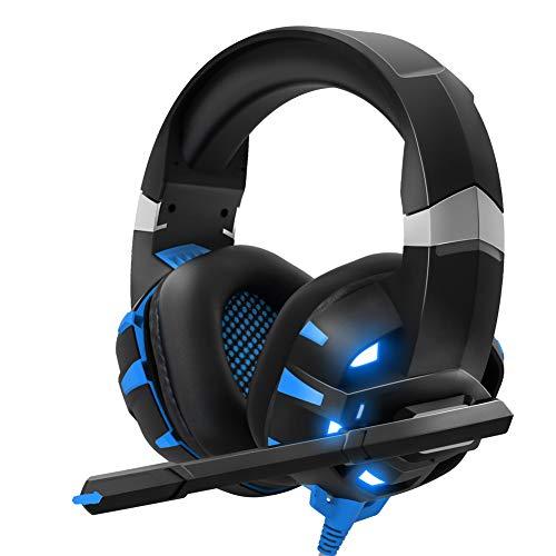 Gaming Headset PS4, Gaming Headset mit 3,5-mm-Schnittstelle und HD-Bass-Surround-Rauschunterdrückung, mit LED-Leuchten für PS4 PC Xbox One Tablet Laptop, Rot,02Blue