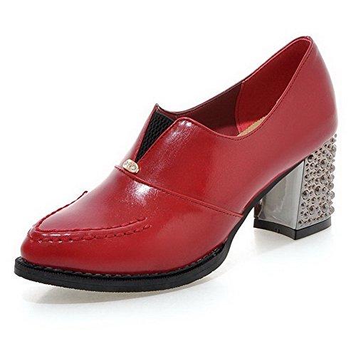 VogueZone009 Femme Tire Pointu à Talon Correct Pu Cuir Couleur Unie Chaussures Légeres Rouge