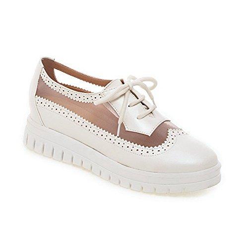 AgooLar Damen Schnüren Blend-Materialien Rund Zehe Mittler Absatz Rein  Pumps Schuhe Weiß