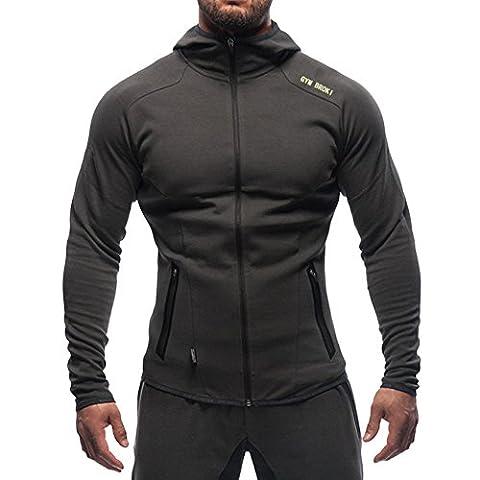 Broki Men Camouflage Zipper Hoodies , Quick Dry Bodybuilding GYM Fitness Slim Muscle Fit Zip-Hooded Sweatshirts with Zippered Pockets (XXL, Dark