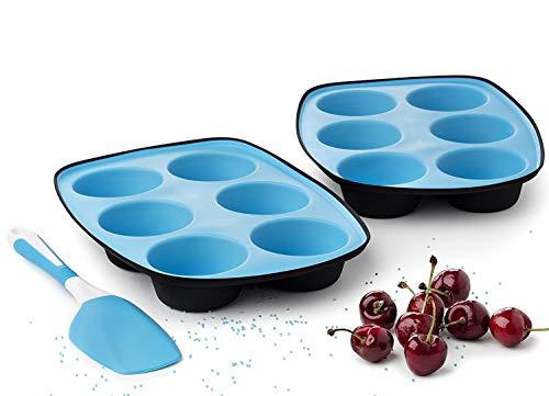 Muffinform silikon muffins backform silicon muffinformen muffinblech 6er Kuchenform antihaft Pfannen Cupcake Maker muffinbackblech - Set aus 2 + Spachtel