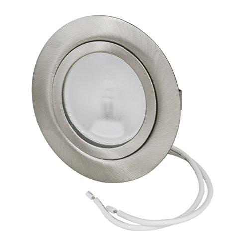 Set Möbeleinbauleuchte Farbe: Edelstahl gebürstet | 12Volt G4 20Watt Leuchtmittel inklusive (dimmbar) | Bohrloch: 55-58mm - Außendurchmesser: 72mm - Einbautiefe: 19mm | Leuchtmittel austauschbar - auch für LED geeignet
