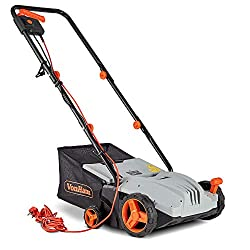 VonHaus Electric Lawn Raker - 1300W Garden Rake with 4 Depth Settings - 32cm Working Width & 28L Collection Bag