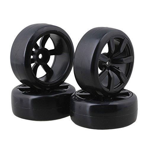 BQLZR 4pcs Slick Tires with Wheel Rims for RC 1:10 On-Road Racing Car & Drift Car