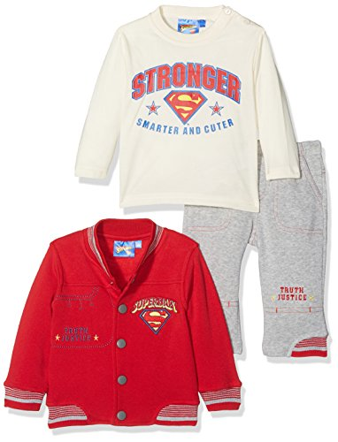 Superman Superbaby Smarter and Stronger, Conjunto de Ropa para Bebés, Rouge (Red), 18 Meses