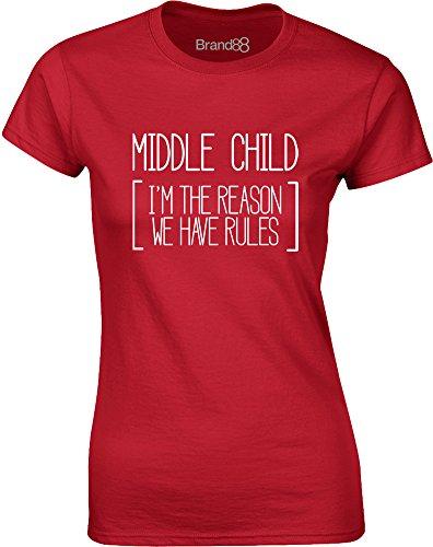 Brand88 - Middle Child, Gedruckt Frauen T-Shirt Rote/Weiß
