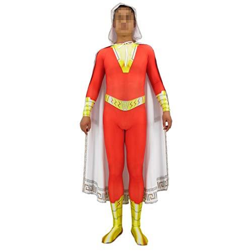 Shazam Kostüm Superheld - QWEASZER Shazam! Kostüm Kostüm Erwachsene Männer Superheld Zentai Jumpsuit Cape Cosplay Full Set Halloween Outfit Kleidung,Orange-XXXL