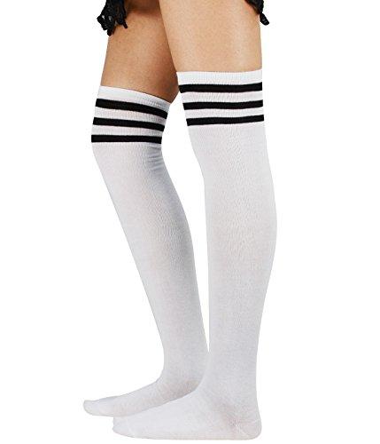 Weiß Schwarz Drei Streifen (Azue Damen Baumwolle Dünn Über Knie-Lange Overknee Socken Sportsocken Kniestrümpfe Strümpf mit 3 Streifen Weiß und Schwarz Streifen One Size)