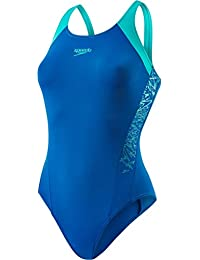 Speedo Damen Boom Muscleback Badeanzug mit Passe Swimwear, Navy/Orchid