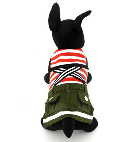zunea gestreift kleiner Hund Katze Sailor Jumpsuit Pullover Shirt mit Overalls Pet Puppy Rock Kleid Fall Hund Chihuahua ()