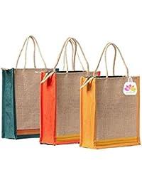 GREAN Plain 3 Jute Lunch Bag Combo (Pack Of 3)