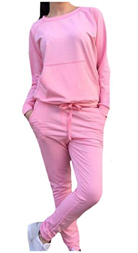 CuteRose Women Stylish Casual Sports Solid Tops Outwear and Pants Outfit Pink M Aeropostale Zip