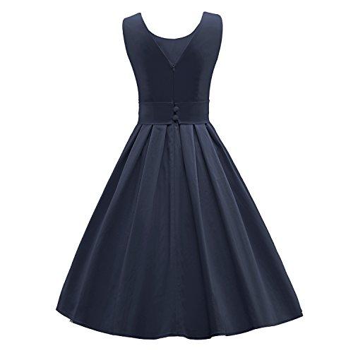 ILover Frauen 50s 60s Zurück V-Ausschnitt-Kreis Vintage-Rockabilly Swing-Party-Tanz-Kleid V034-Marine