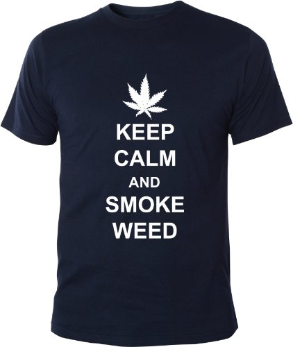 Mister Merchandise Cooles Fun T-Shirt Keep Calm and Smoke Weed Navy