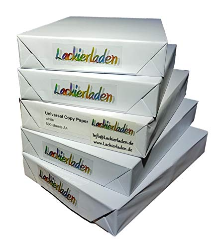 Kopierpapier Druckerpapier 500 Blatt A4 80 g/qm reinweiß holzfrei Zum Drucken, Kopieren, Faxen Laser-Inkjet Geeignet Papier