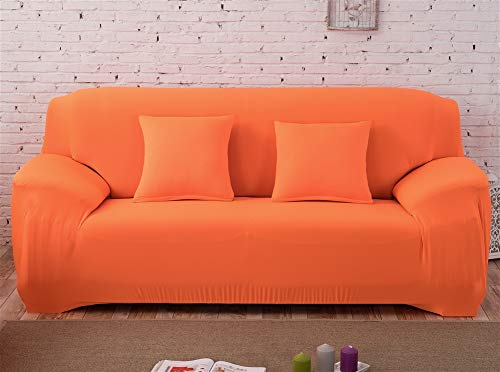 Insun Sofa Überwürfe Antirutsch Stoff Sofabezüge Stretch Elastische Sofahusse Einfarbig Sofa Abdeckung Orange 2 Sitzer 145-185cm