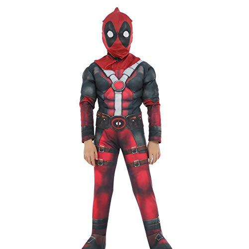 BLOIBFS Kostüm Jungen Cosplay Kostüm Deadpool Party Cosplay Kostüm Weihnachten Halloween Film Kostüm Requisiten Verkleidung Kostüm Kostümparty,Kids-L