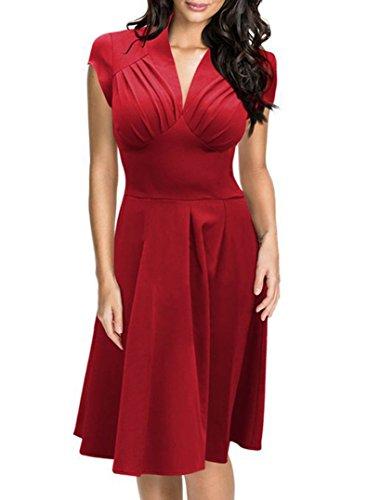 Damen Audrey Hepburn 50s Vintage Rockabilly Kleid Festliches Kleid Partykleider Kleid Ärmellos Knielang Rot