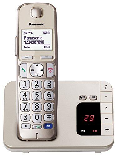 Panasonic KX-TGE220JTN Telefono Cordless (DECT) con Segreteria Telefonica, Ampio Schermo Retroilluminato, Tasti Grandi, Facile Utilizzo, Compatibilità con Apparecchi Acustici, Modalità Eco, Champagne