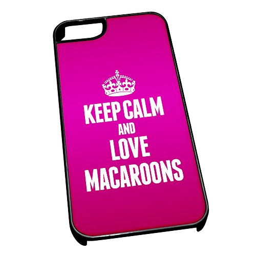 Nero cover per iPhone 5/5S 1242 Pink Keep Calm and Love macarons