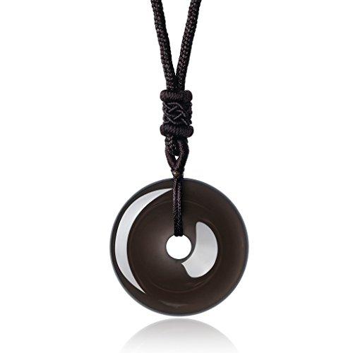 COAI Kreisring Anhänger aus Quarz/Obsidian/Unakit/Tigerauge/Grauer Achat/Rosenquarz&Amazonit Kreisring Anhänger Halskette für Damen/Herren (Achat-anhänger-halskette)