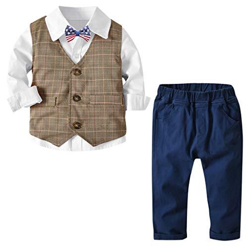 MRULIC Baby Junge Bowtie Gentleman Weste T-Shirt Hosen Hochzeit Anzug Tuch Sets(B-Weiß,Höhe:120-130CM) (Lustige Show T-shirt)