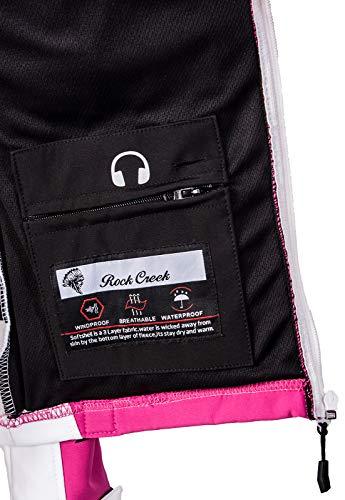 Rock Creek Damen Softshell Jacke Windbreaker Regenjacke Übergangsjacke Softshelljacke Damenjacke Regenmantel Outdoorjacke Kapuze D-402 Weiß XS - 2
