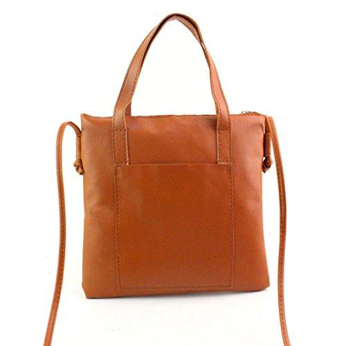ZARU Frauen-Art- und Weisehandtasche, Schulter-Beutel-großer Tote-Geldbeutel (Braun) (Leinwand Tote-geldbeutel)
