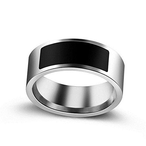 Signore orologio digitale,sonnena nfc anello di usura intelligente anello intelligente impermeabile multifunzionale inteligente indossare dito anello digitale (nero, us 10)